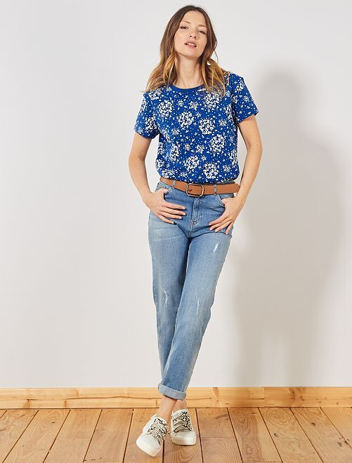 T-shirt imprimé 'message'                                                                                                                                                                                                         bleu fleurs