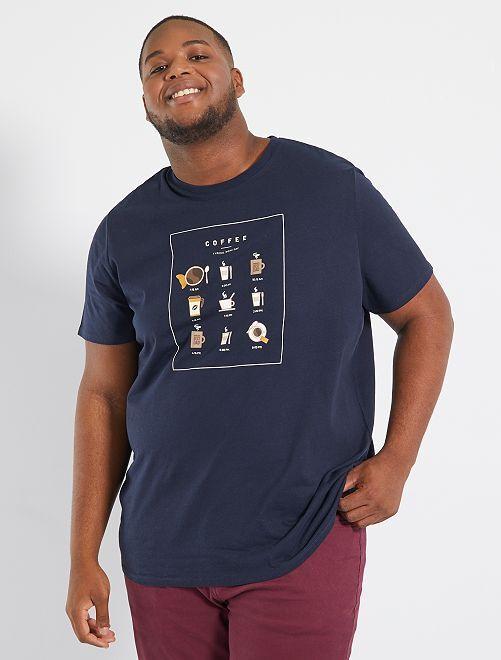 T-shirt imprimé                                                                                         bleu marine/café