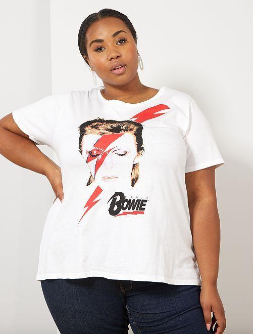 T-shirt imprimé 'Bowie'                             blanc