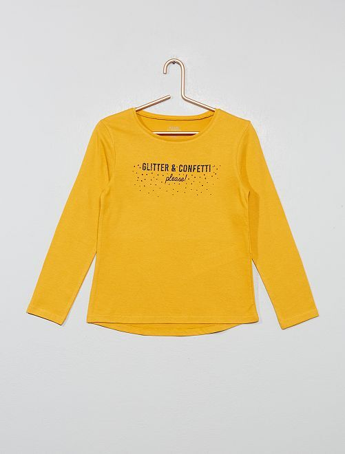 T-shirt imprimé brillant 'éco-conception'                                                                                         jaune