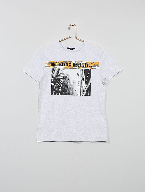 T-shirt imprimé 'Brooklyn'                                         gris
