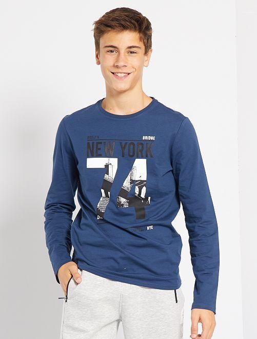 T-shirt imprimé 'Brooklyn Street style'                     bleu