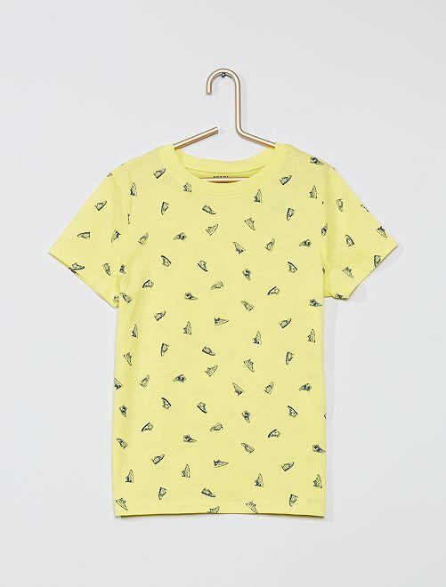 T-shirt imprimé 'chaussures' 'éco-conception'                                                                                                                             jaune