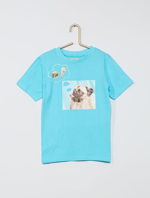 T-shirt imprimé 'chien' 'éco-conception'                                                                                                                                                                                         bleu/chien