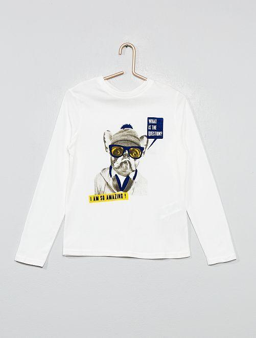 T-shirt imprimé chien 'éco-conception'                                                                                                     écru