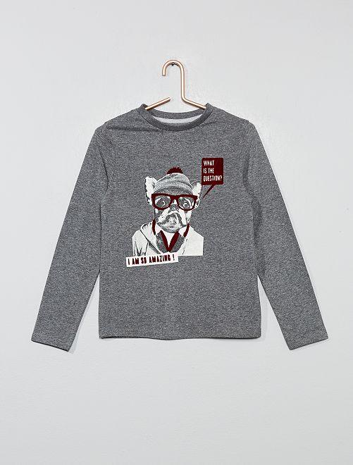 T-shirt imprimé chien 'éco-conception'                                                                                                     gris/chien