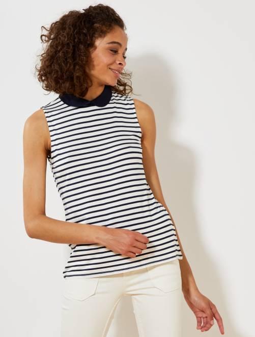 T-shirt imprimé col claudine                             blanc rayé Femme