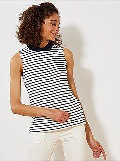 T-shirt, débardeur blanc - T-shirt imprimé col claudine - Kiabi