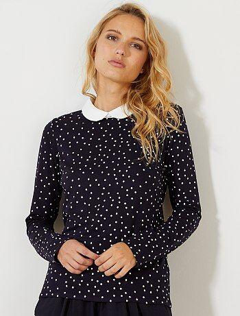 Femme du 34 au 48 - T-shirt imprimé col claudine - Kiabi
