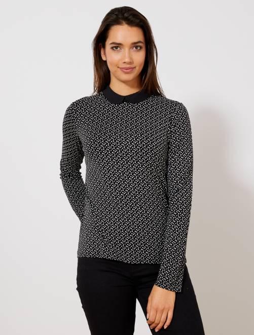 T-shirt imprimé col claudine                                                                             noir imprimé Femme