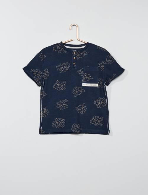 T-shirt rayé col tunisien                                                                     bleu marine Garçon