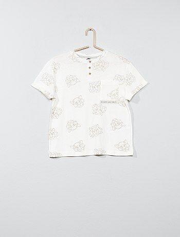 Garçon 3-12 ans - T-shirt imprimé col tunisien - Kiabi