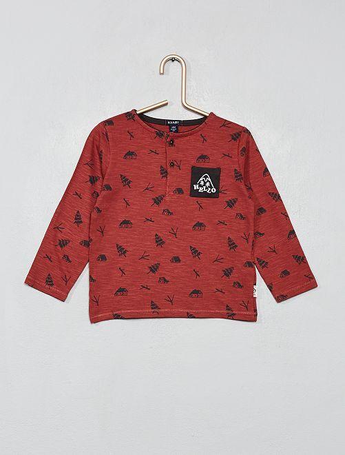 T-shirt imprimé col tunisien                                         rouge brique