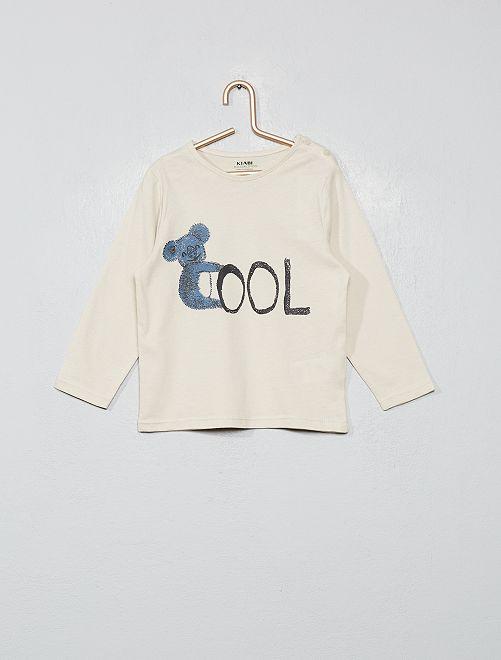 T-shirt imprimé coton bio                                                                                                                                                                                                         beige cool
