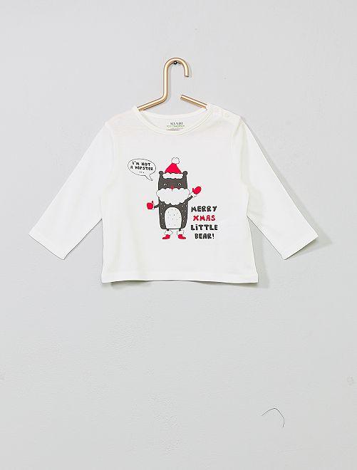 T-shirt imprimé coton bio                                                                                                                                                                                                                 blanc hipster