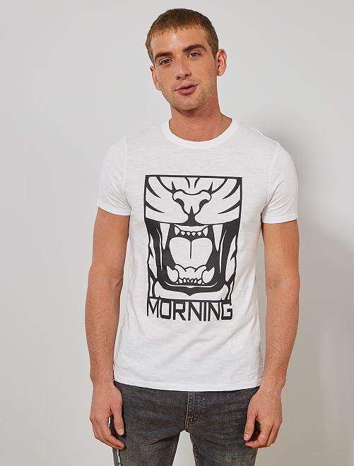 T-shirt imprimé coton bio                                                                                                     blanc Homme