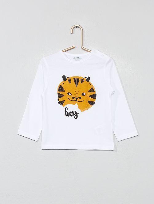 T-shirt imprimé coton bio                                                                                                                                                                                                     blanc tigre Bébé garçon