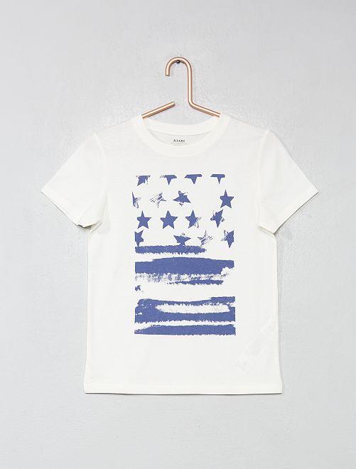 T-shirt imprimé coton bio                                                                                                                                                                                                     blanc/drapeau Garçon