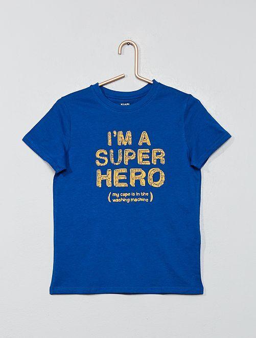 T-shirt imprimé coton bio                                                                                                                                                                                                     bleu Garçon