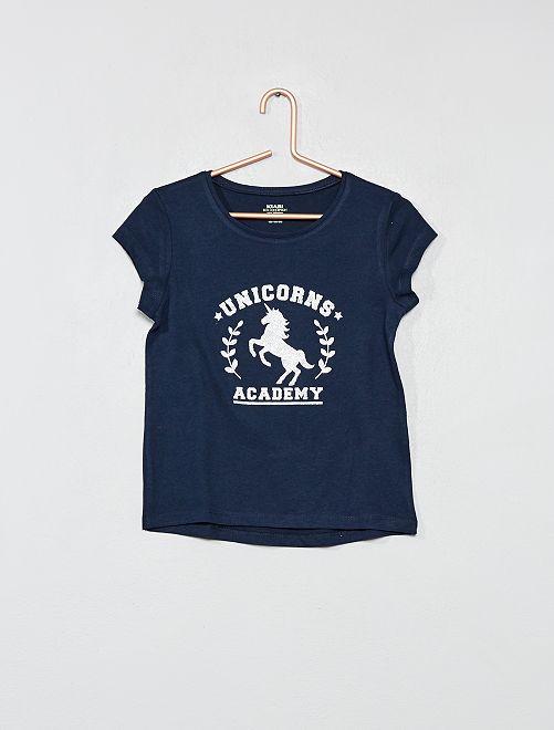 T-shirt imprimé coton bio                                                                                         bleu marine