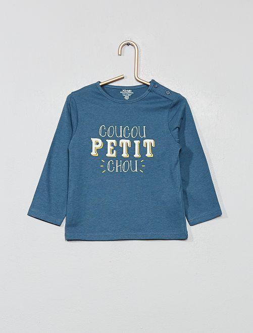 T-shirt imprimé coton bio                                                                                                                             bleu petit Bébé garçon