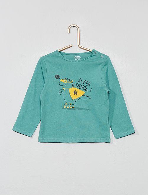 T-shirt imprimé coton bio                                                                                                                                                         bleu vert