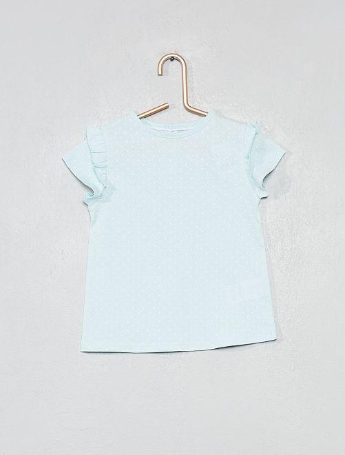 T-shirt imprimé coton bio                                                                                                                                                     bleu vert pois