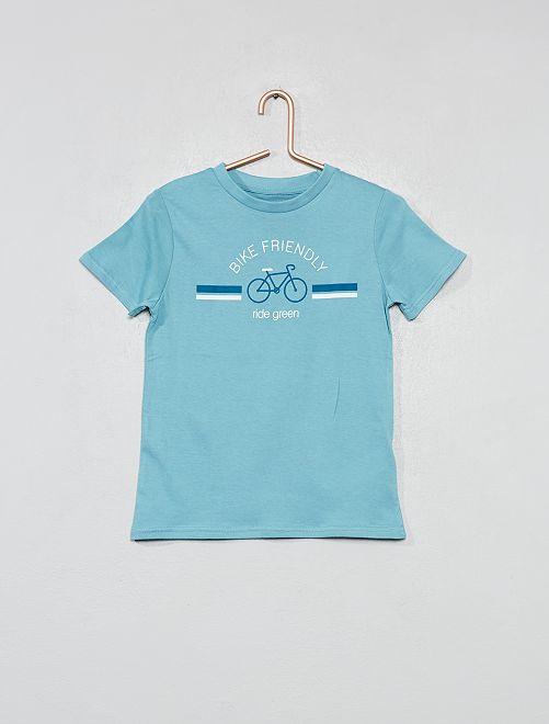 T-shirt imprimé coton bio                                                                                             bleu/vélo Garçon