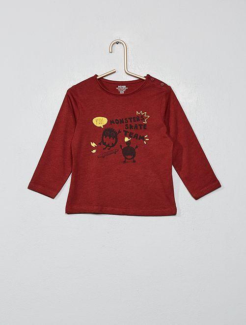 T-shirt imprimé coton bio                                                                                                                                                                                                                 bordeaux monstre Bébé garçon