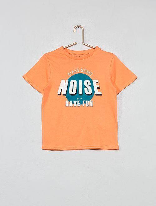 T-shirt imprimé coton bio                                                                                                     corail Garçon