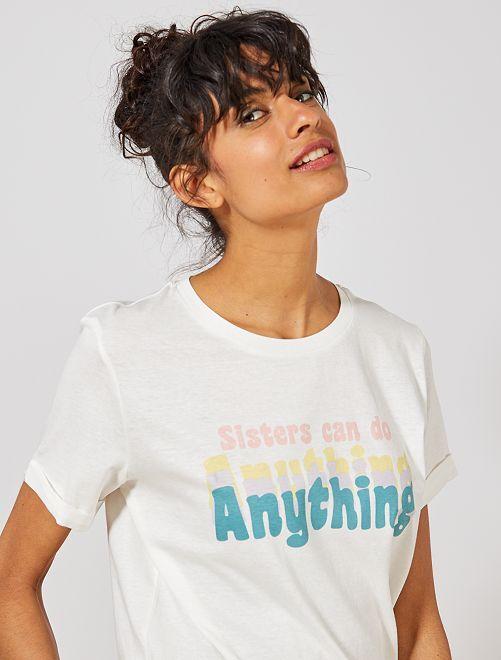 T-shirt imprimé coton bio                                 ecru/sisters Femme