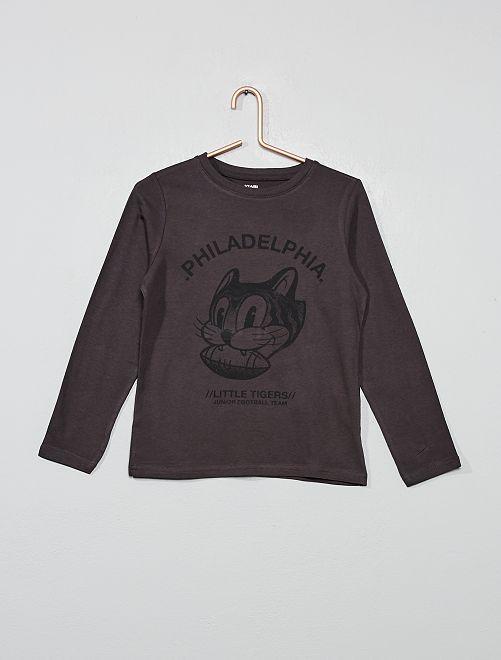 T-shirt imprimé coton bio                                                                                                                                         gris Garçon