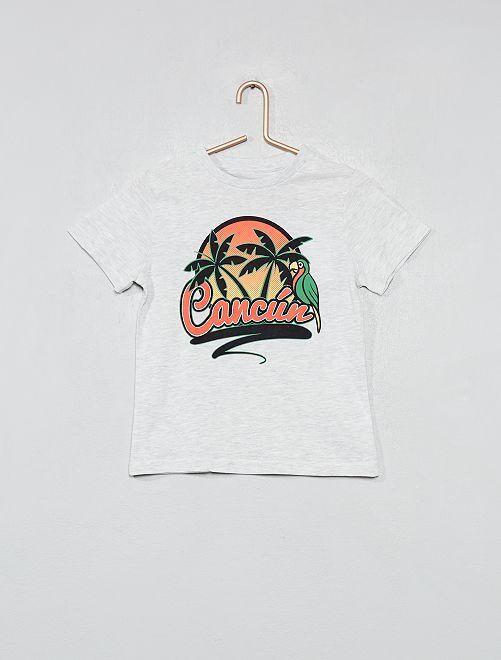 T-shirt imprimé coton bio                                                                                                                 gris/cancun Garçon