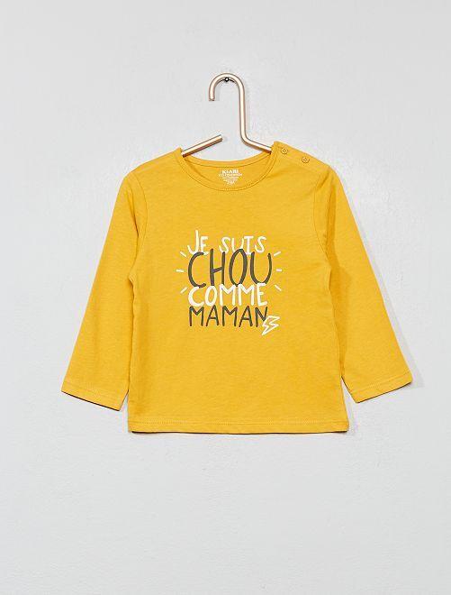 T-shirt imprimé coton bio                                                                                                                             jaune maman Bébé garçon