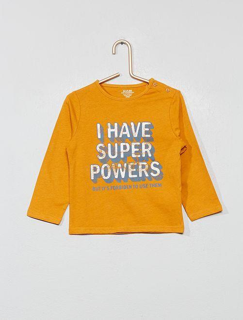 T-shirt imprimé coton bio                                                                                                                                                                 jaune power