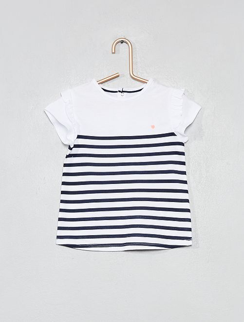 T-shirt imprimé coton bio                                                                                                                                                                 rayé bleu