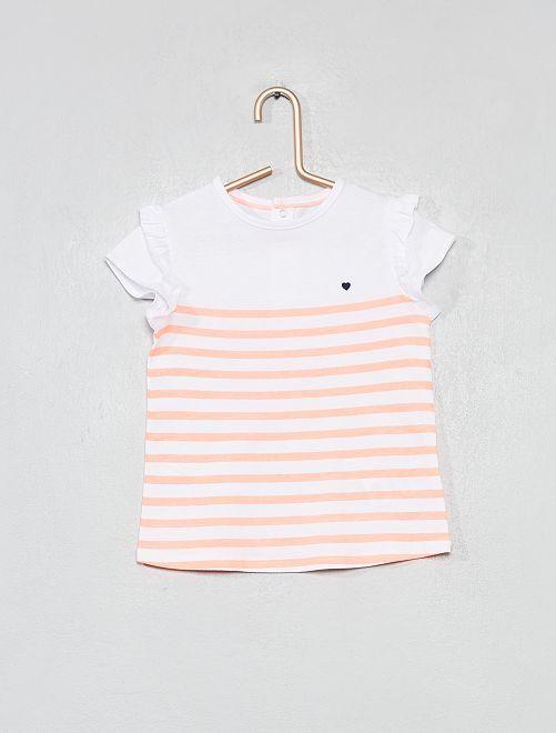 T-shirt imprimé coton bio                                                                                                                                                     rayé orange fluo