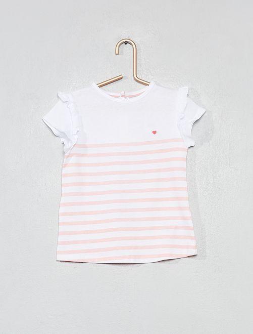 338f65c040a4 T-shirt imprimé coton bio Bébé fille - rayé rose clair - Kiabi - 4