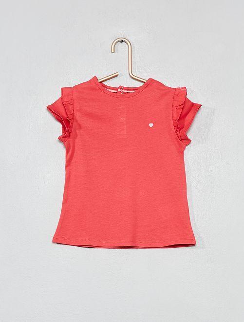 T-shirt imprimé coton bio                                                                                                                                                     rose