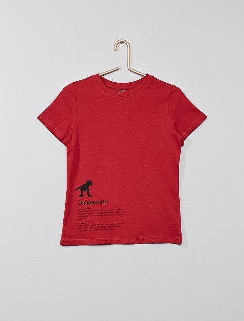 T-shirt imprimé coton bio                                                                                                                                                                                                     rouge brique Garçon