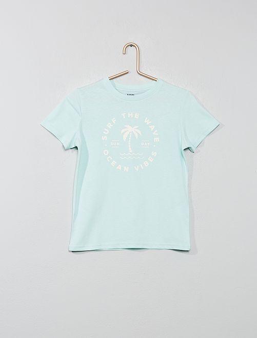 T-shirt imprimé coton bio                                                                                                                                                                                                     vert d'eau Garçon