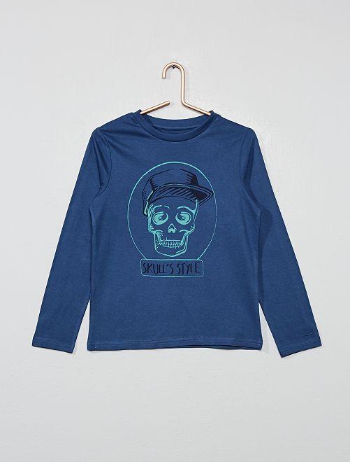 T-shirt imprimé 'crâne' en coton bio                                                                                                                                         bleu Garçon