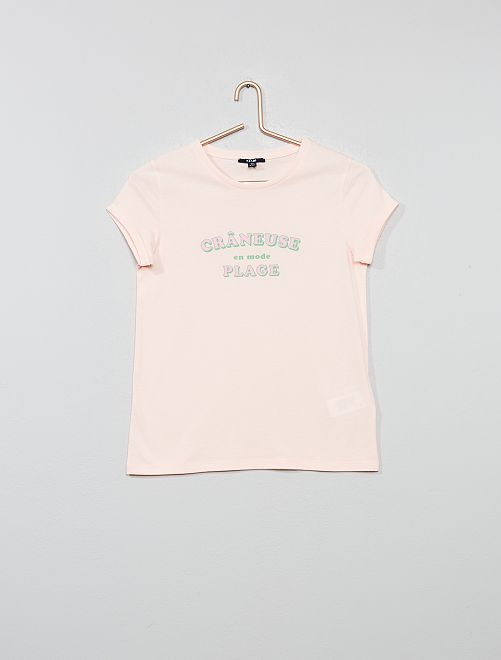 T-shirt imprimé 'crâneuse'                                                                 rose
