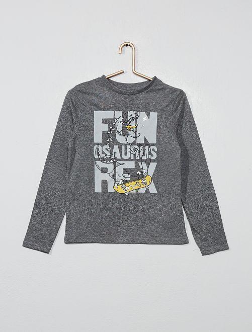 T-shirt imprimé 'dinosaure' en coton bio                                                                                                                                         gris Garçon