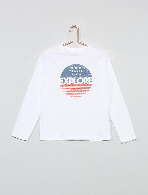 T-shirt imprimé drapeau 'éco-conception'                                                                                                                                         blanc