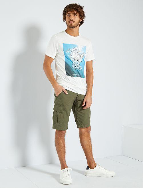 T-shirt imprimé 'éco-conception'                                                                                                                                                     blanc cassé/sea
