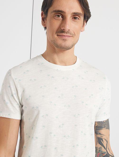 T-shirt imprimé 'éco-conception'                                                                                                                                                                 blanc cassé/vert