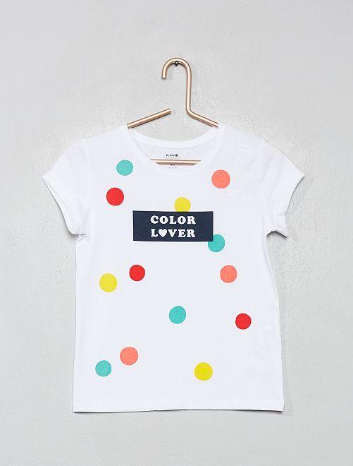 T-shirt imprimé 'éco-conception'                                                                                                                                                                                                                                                     blanc pois