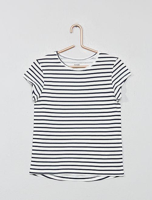 T-shirt imprimé 'éco-conception'                                                                             blanc rayé