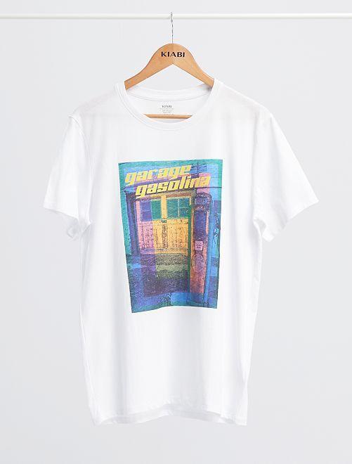 T-shirt imprimé 'éco-conception'                                                                                                                                                                                                                 blanc/garage